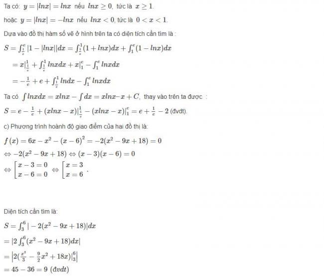 Đáp án bài 1 trang 121 sgk giải tích lớp 12 phần 2