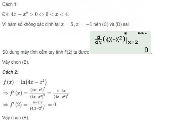 Đáp án bài 3 trang 91 sgk giải tích lớp 12