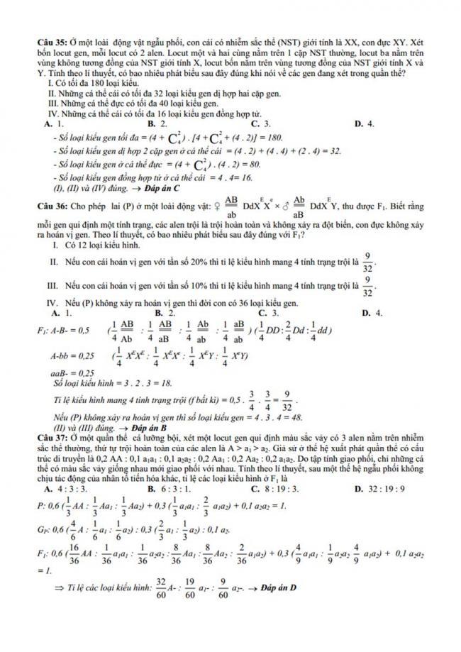 Đáp án Đề thi thử môn Sinh thptqg năm 2018 trường Chuyên Bến Tre trang 5