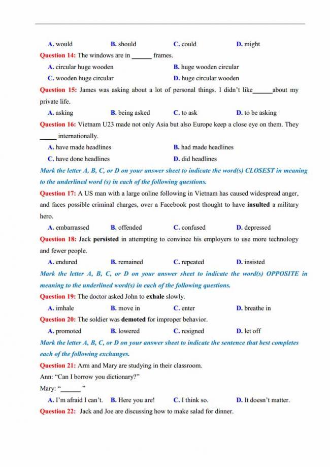 Đề thi thử môn Anh thptqg năm 2018 trường THPT chuyên DH Sư Phạm Hà Nội trang 2