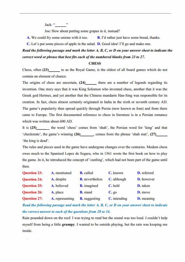 Đề thi thử môn Anh thptqg năm 2018 trường THPT chuyên DH Sư Phạm Hà Nội trang 3