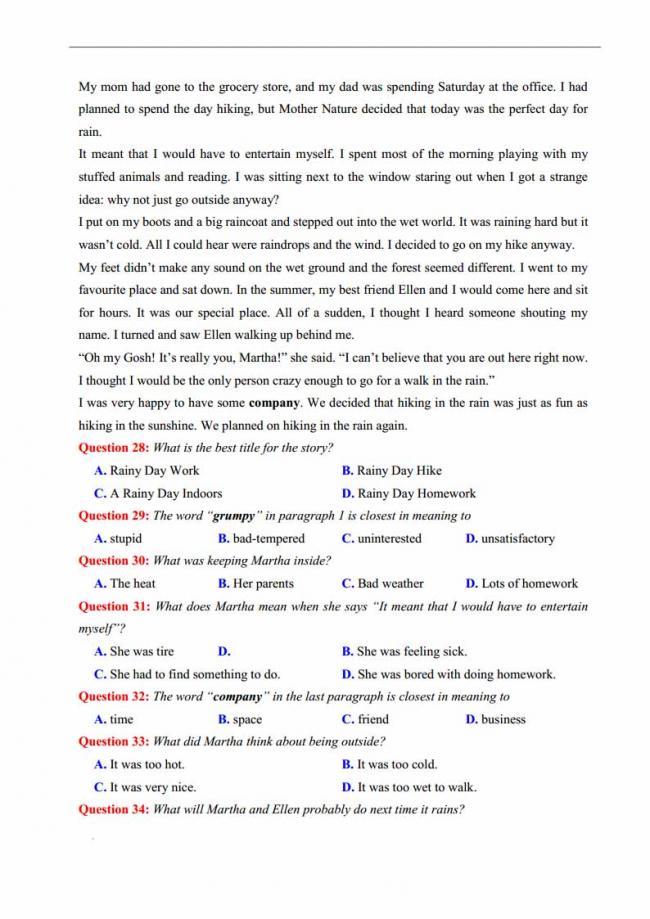 Đề thi thử môn Anh thptqg năm 2018 trường THPT chuyên DH Sư Phạm Hà Nội trang 4