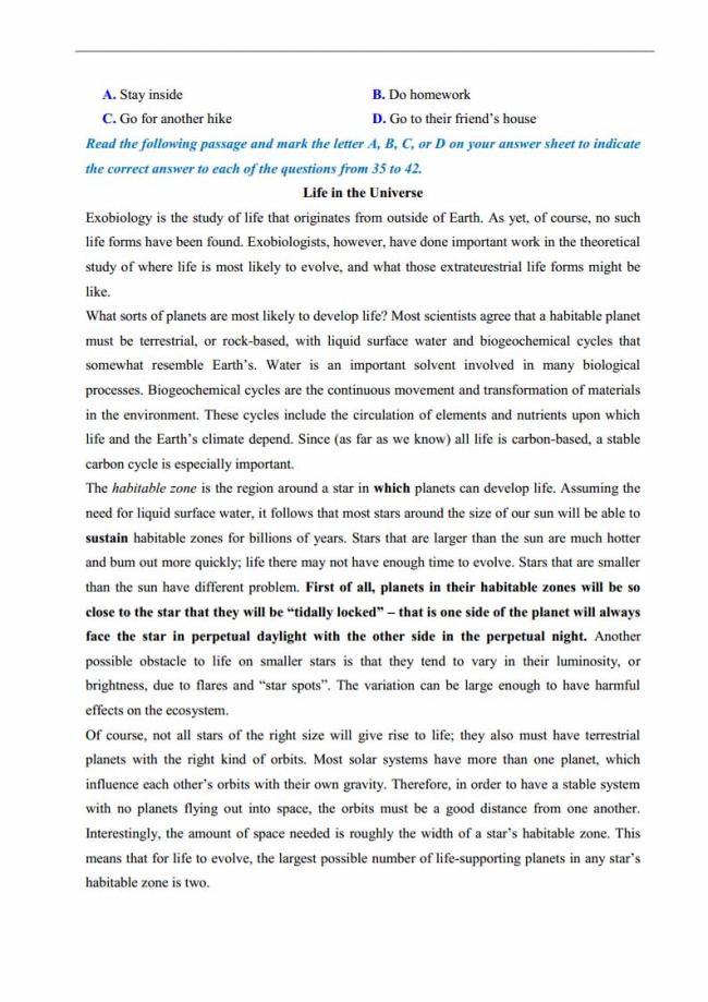 Đề thi thử môn Anh thptqg năm 2018 trường THPT chuyên DH Sư Phạm Hà Nội trang 5