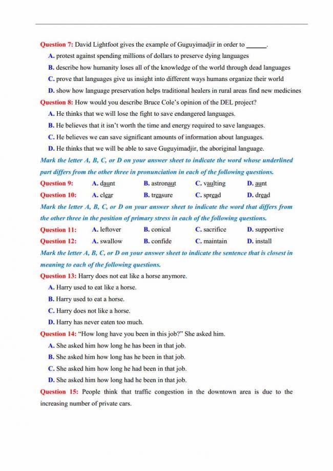 Đề thi thử môn Anh thptqg năm 2018 trường THPT chuyên KHTN Hà Nội trang 3