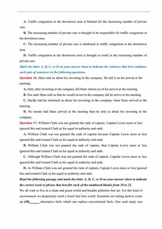 Đề thi thử môn Anh thptqg năm 2018 trường THPT chuyên KHTN Hà Nội trang 4