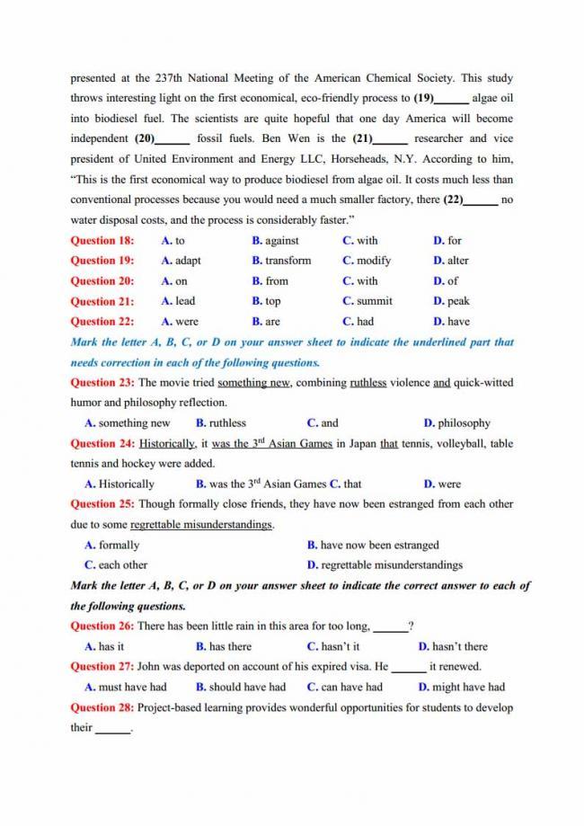 Đề thi thử môn Anh thptqg năm 2018 trường THPT chuyên KHTN Hà Nội trang 5