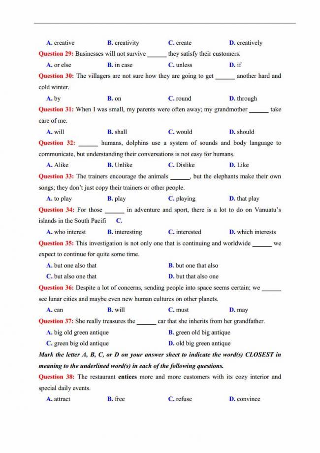 Đề thi thử môn Anh thptqg năm 2018 trường THPT chuyên KHTN Hà Nội trang 6