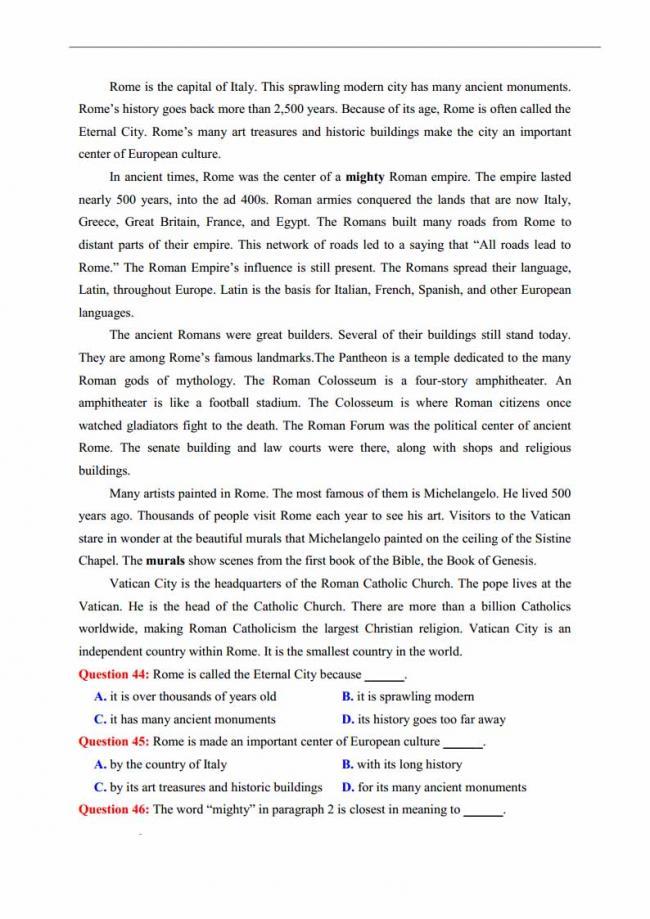 Đề thi thử môn Anh thptqg năm 2018 trường THPT chuyên KHTN Hà Nội trang 8