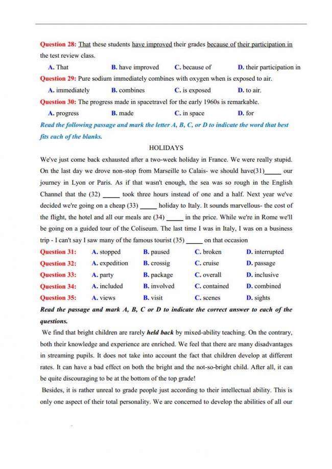 Đề thi thử môn Anh thptqg năm 2018 trường THPT chuyên Lương Văn Chánh Phú Yên trang 4