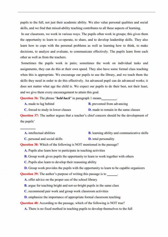 Đề thi thử môn Anh thptqg năm 2018 trường THPT chuyên Lương Văn Chánh Phú Yên trang 5