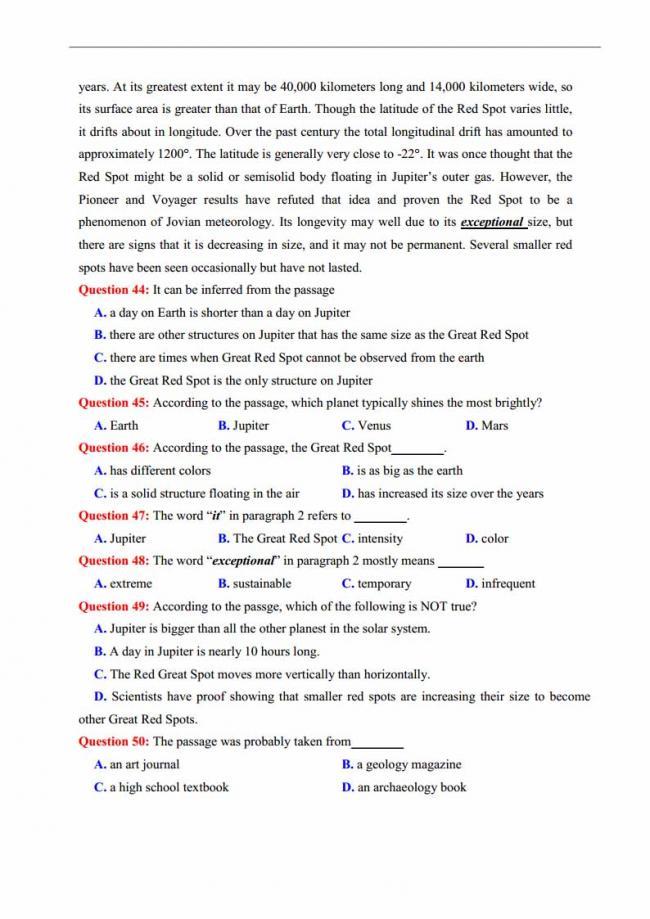 Đề thi thử môn Anh thptqg năm 2018 trường THPT chuyên Lương Văn Chánh Phú Yên trang 7