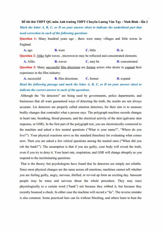 Đề thi thử môn Anh thptqg năm 2018 trường THPT chuyên Lương Văn Tụy Ninh Bình trang 1