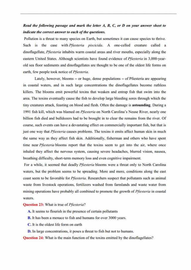 Đề thi thử môn Anh thptqg năm 2018 trường THPT chuyên Lương Văn Tụy Ninh Bình trang 4