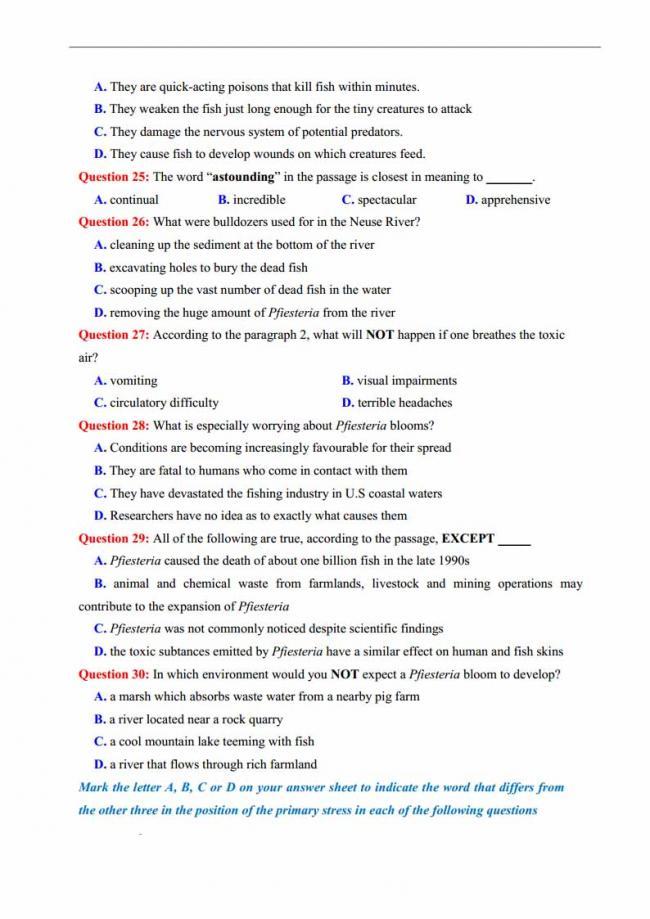 Đề thi thử môn Anh thptqg năm 2018 trường THPT chuyên Lương Văn Tụy Ninh Bình trang 5