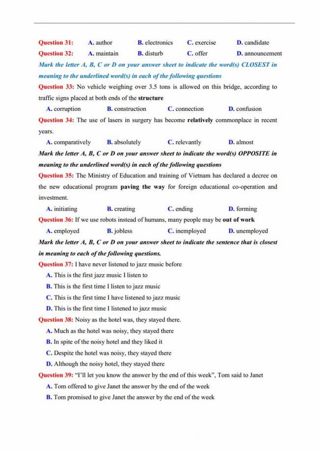 Đề thi thử môn Anh thptqg năm 2018 trường THPT chuyên Lương Văn Tụy Ninh Bình trang 6