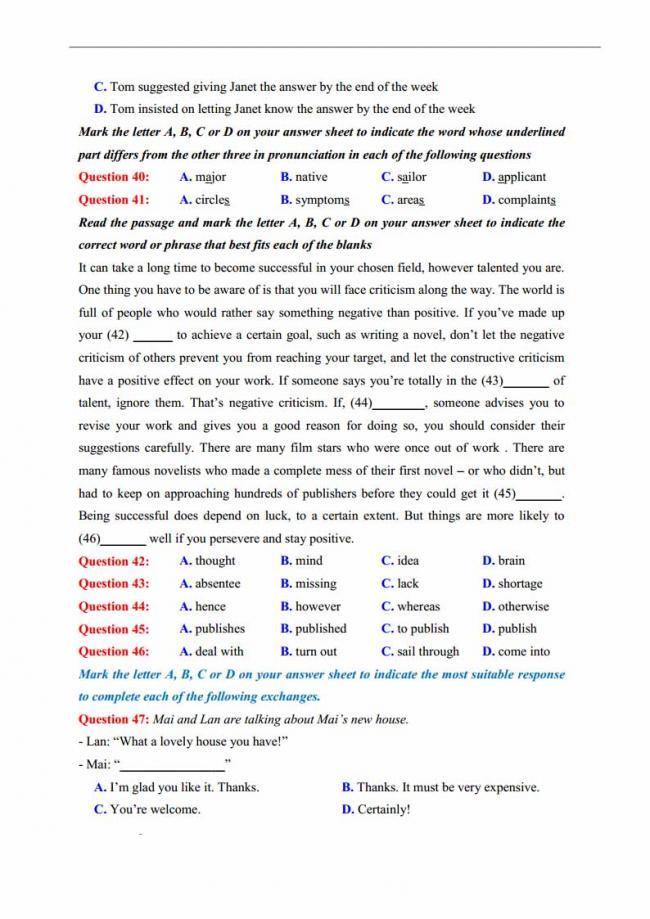 Đề thi thử môn Anh thptqg năm 2018 trường THPT chuyên Lương Văn Tụy Ninh Bình trang 7