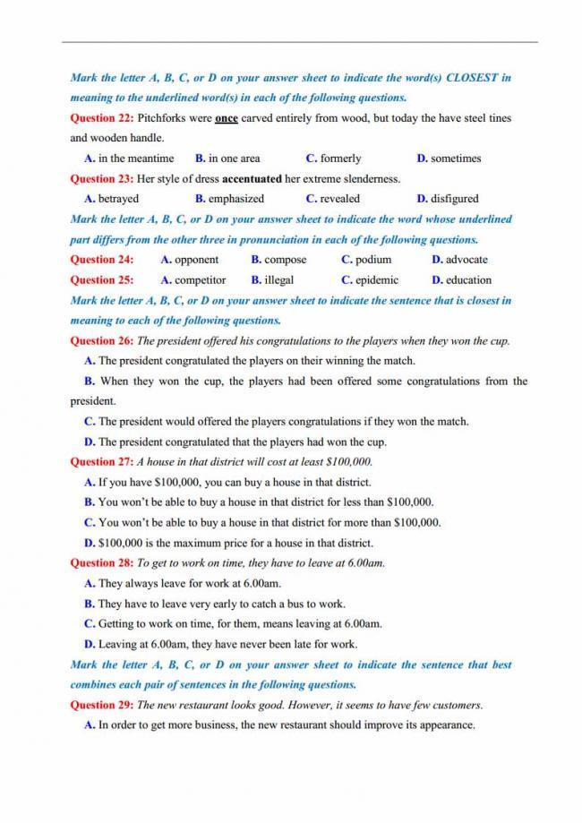 Đề thi thử môn Anh thptqg năm 2018 trường THPT chuyên Thái Nguyên trang 3