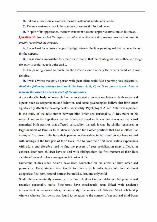 Đề thi thử môn Anh thptqg năm 2018 trường THPT chuyên Thái Nguyên trang 4