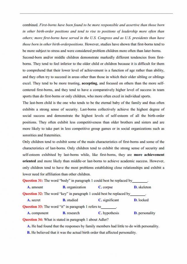 Đề thi thử môn Anh thptqg năm 2018 trường THPT chuyên Thái Nguyên trang 5