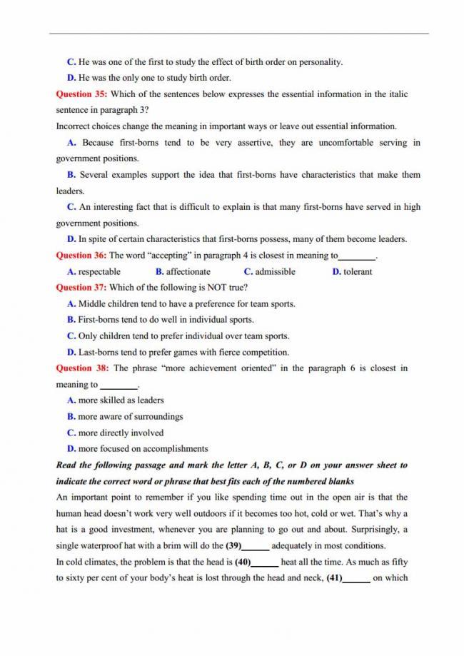 Đề thi thử môn Anh thptqg năm 2018 trường THPT chuyên Thái Nguyên trang 6