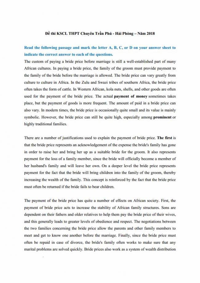 Đề thi thử môn Anh thptqg năm 2018 trường THPT chuyên Trần Phú Hải Phòng trang 1