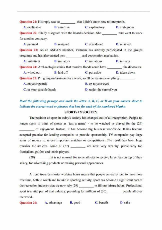 Đề thi thử môn Anh thptqg năm 2018 trường THPT chuyên Trần Phú Hải Phòng trang 5