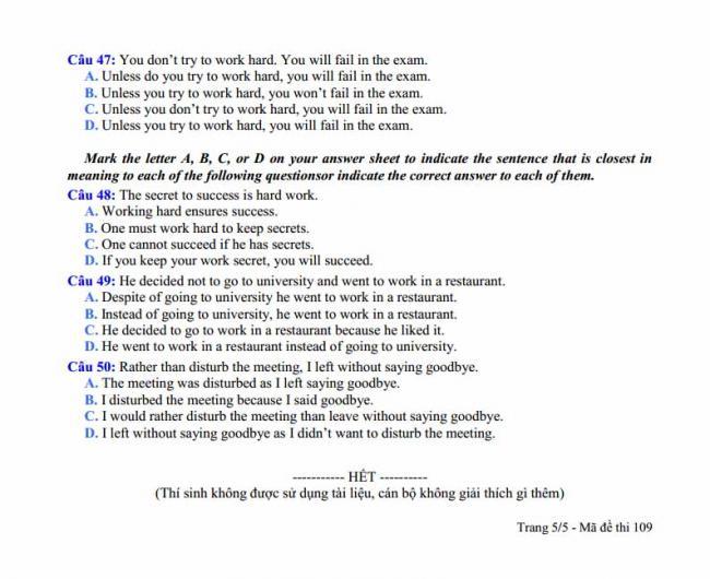 Đề thi thử môn Anh thptqg năm 2018 trường THPT Đồng Đậu Vĩnh Phúc trang 5