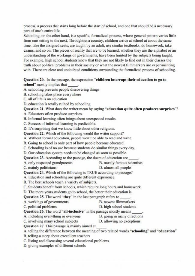 Đề thi thử môn Anh thptqg năm 2018 trường THPT Tây Thụy Anh Thái Bình trang 4