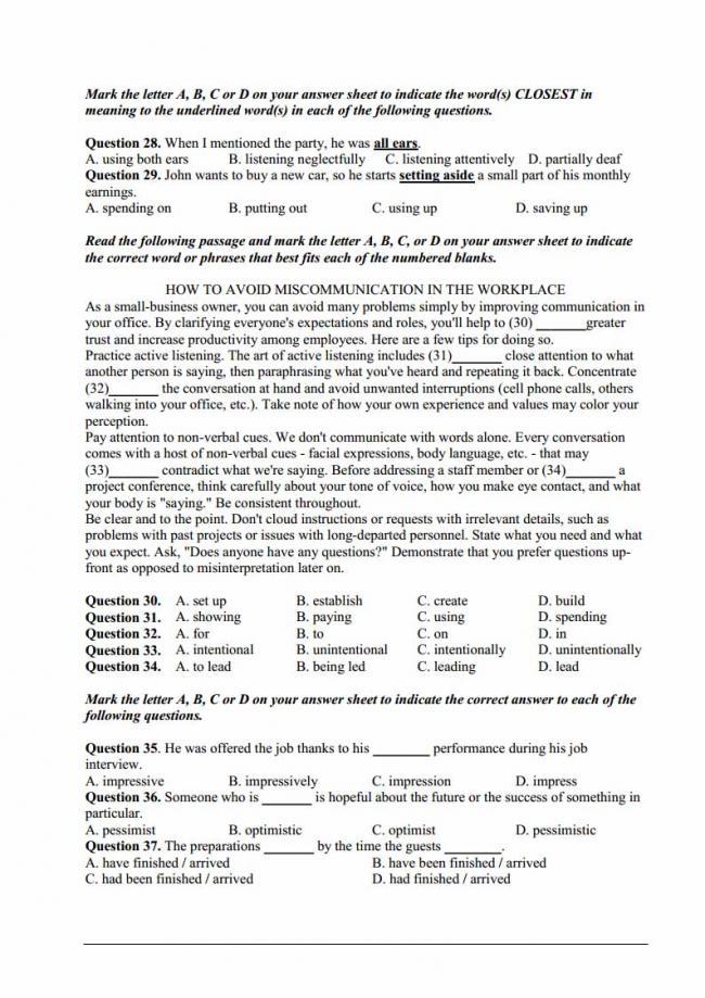 Đề thi thử môn Anh thptqg năm 2018 trường THPT Tây Thụy Anh Thái Bình trang 5