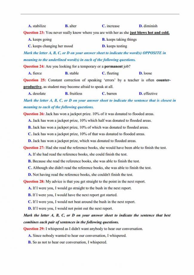 Đề thi thử môn Anh thptqg năm 2018 trường THPT Thăng Long Hà Nội trang 3