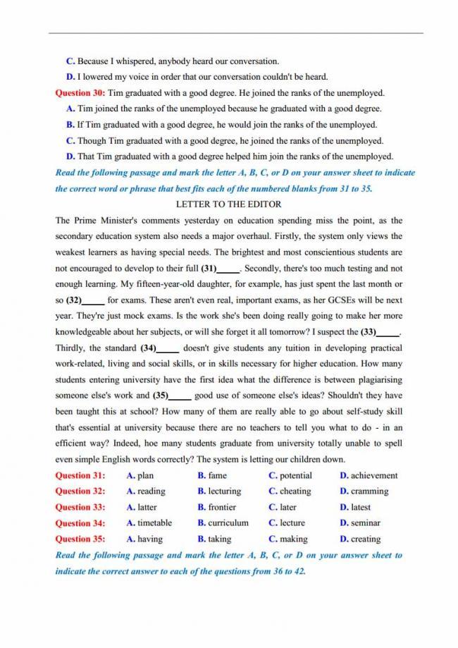 Đề thi thử môn Anh thptqg năm 2018 trường THPT Thăng Long Hà Nội trang 4