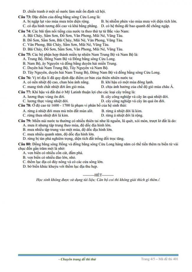 Đề thi thử môn Địa lý thptqg năm 2018 trường Yên Lạc – Vĩnh Phúc trang 4