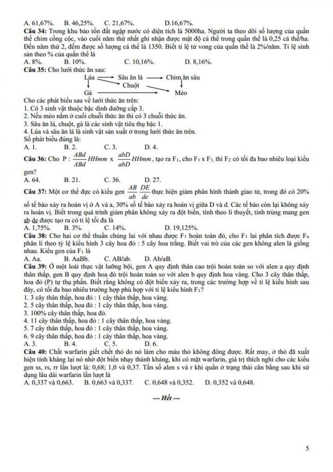 Đề thi thử môn Sinh thptqg năm 2018 trường Chuyên Lê Qúy Đôn – Quảng Trị trang 5