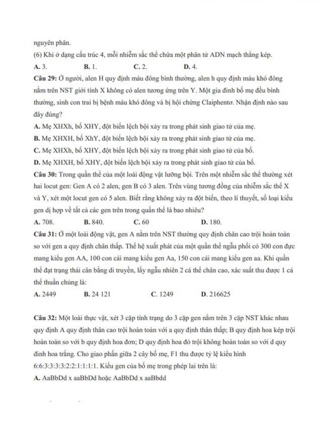 Đề thi thử môn Sinh thptqg năm 2018 trường Hà Huy Tập – Nghệ An trang 7