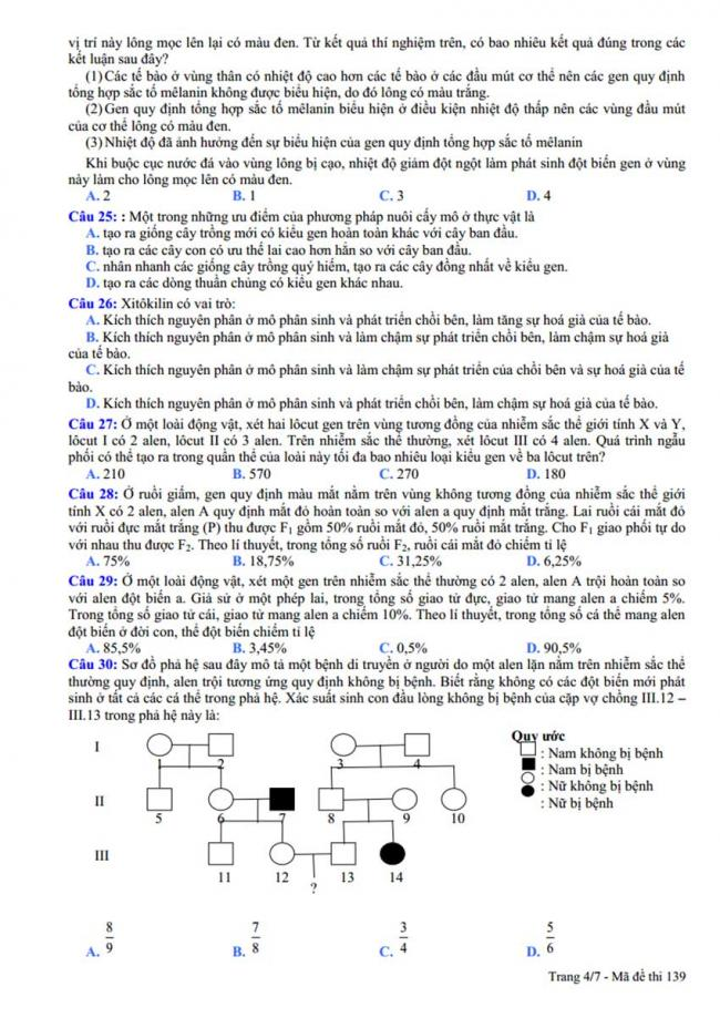Đề thi thử môn Sinh thptqg năm 2018 trường Ngô Gia Tự – Vĩnh Phúc trang 4