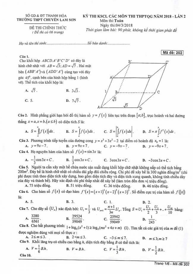 Đề thi thử môn Toán thptqg năm 2018 trường Chuyên Lam Sơn - Thanh Hóa lần 2 trang 1