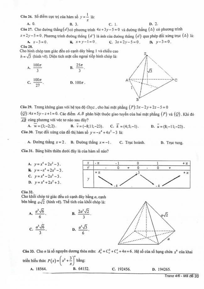 Đề thi thử môn Toán thptqg năm 2018 trường Chuyên Lam Sơn - Thanh Hóa lần 2 trang 4
