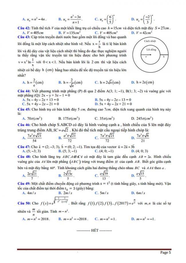 Đề thi thử môn Toán thptqg năm 2018 trường Đồng Đậu - Vĩnh Phúc lần 3 trang 5