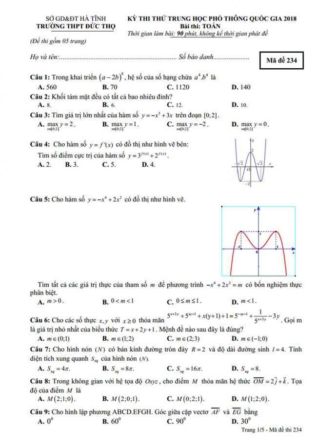 Đề thi thử môn Toán thptqg năm 2018 trường Đức Thọ - Hà Tĩnh lần 1 trang 1