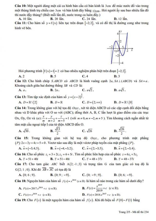 Đề thi thử môn Toán thptqg năm 2018 trường Đức Thọ - Hà Tĩnh lần 1 trang 2