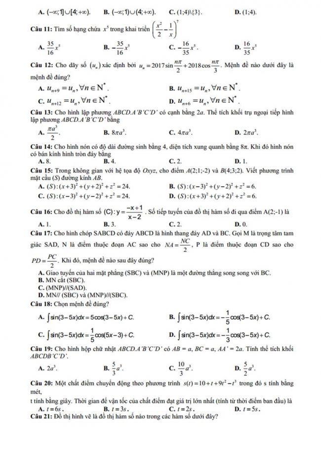 Đề thi thử môn Toán thptqg năm 2018 trường Hoàng Hoa Thám - Hưng Yên lần 1 trang 2