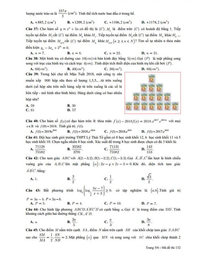 Đề thi thử môn Toán thptqg năm 2018 trường Lý Thái Tổ - Bắc Ninh lần 1 trang 5