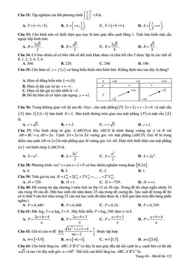 Đề thi thử môn Toán thptqg năm 2018 trường Yên Lạc 2 - Vĩnh Phúc lần 3 trang 4