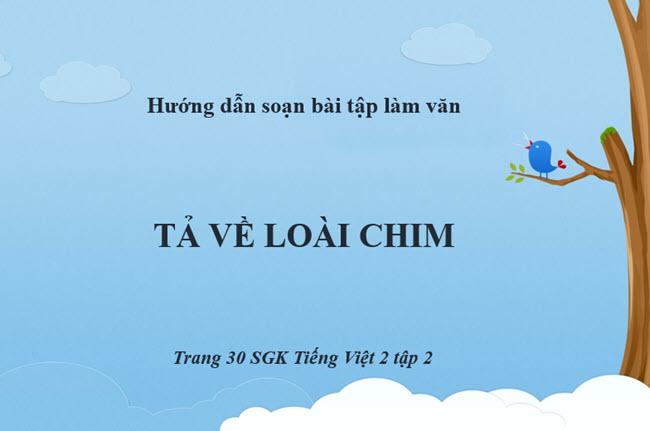 Soạn bài tập làm văn Tả về loài chim trang 30 SGK Tiếng Việt 2 tập 2