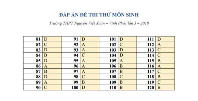 Đáp án Đề thi thử môn Sinh thptqg năm 2018 trường Nguyễn Viết Xuân – Vĩnh Phúc