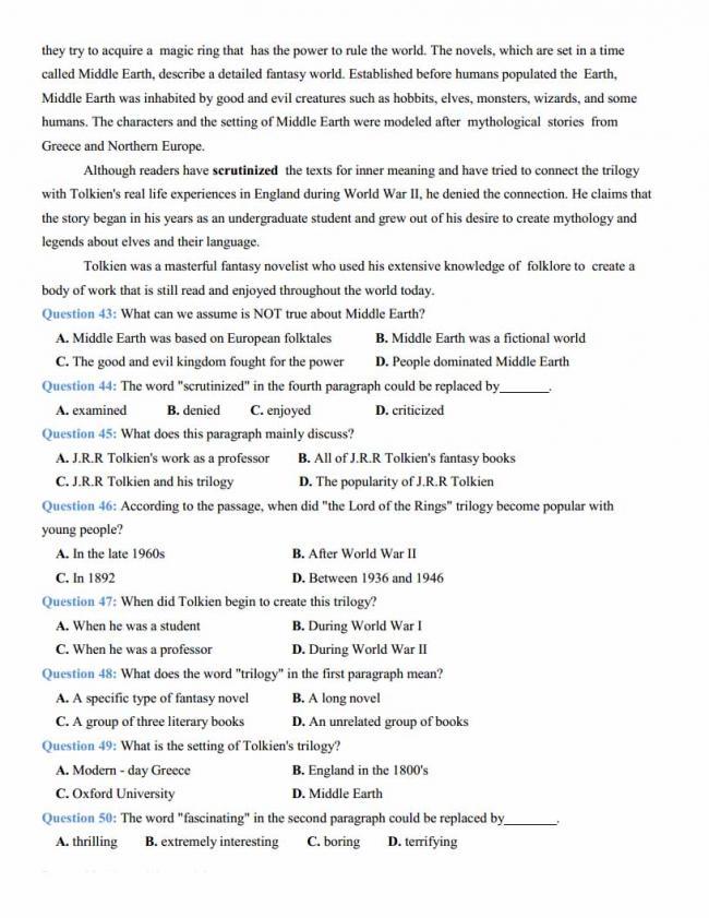 Đề thi thử môn Anh thptqg năm 2018 tỉnh Hải Dương trang 7