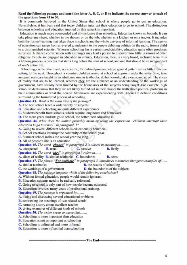 Đề thi thử môn Anh thptqg năm 2018 tỉnh Lâm Đồng trang 4
