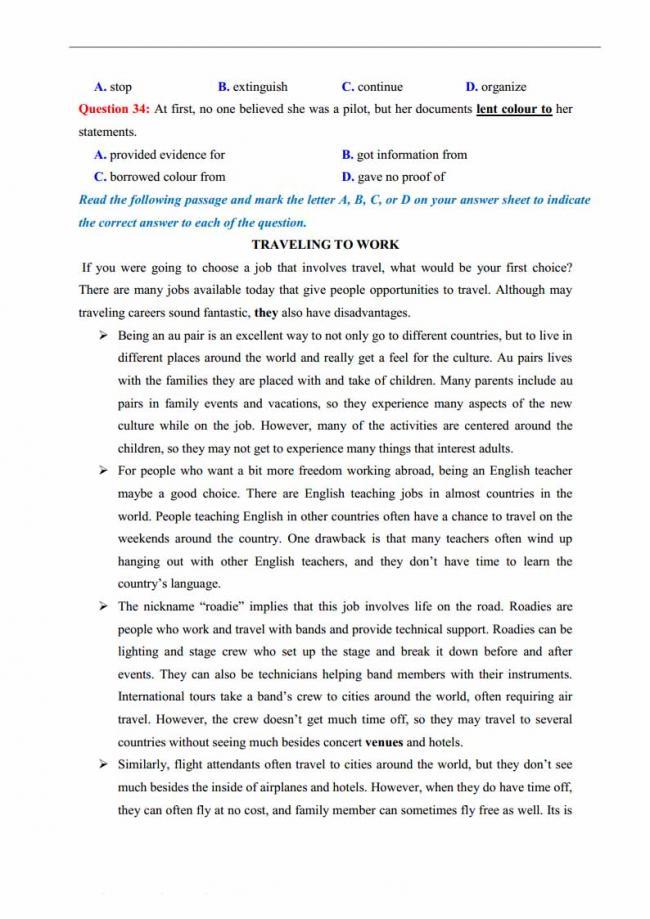 Đề thi thử môn Anh thptqg năm 2018 trường THPT chuyên Quốc học Huế trang 5