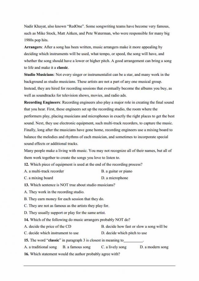 Đề thi thử môn Anh thptqg năm 2018 trường THPT Đinh Tiên Hoàng Ninh Bình trang 3