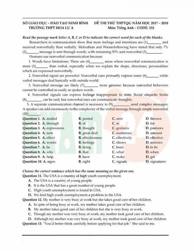 Đề thi thử môn Anh thptqg năm 2018 trường THPT Hoa Lư Ninh Bình trang 1